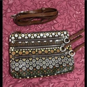 Brown Floral Crossbody Bag